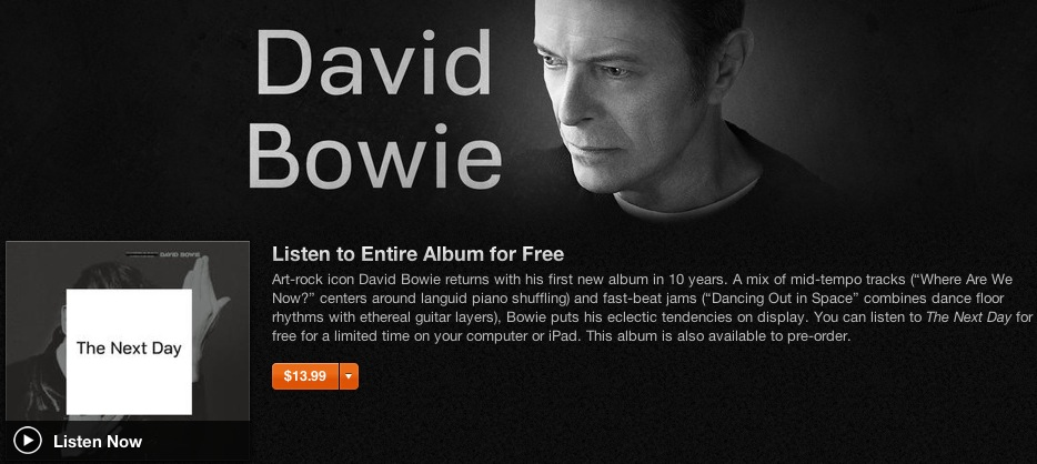 David Bowie iTunes free streaming