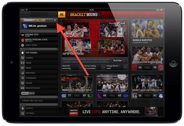 ESPN App Menu