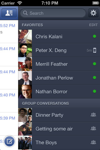 Facebook Messenger 2.3 for iOS (iPhone screenshot 004)
