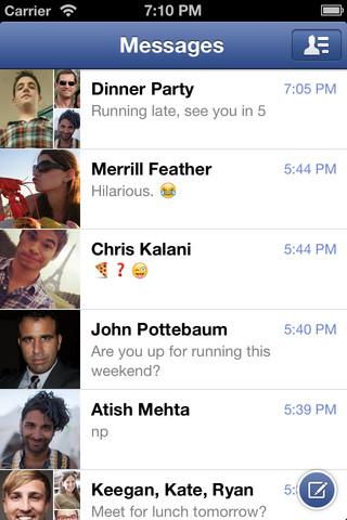 Facebook Messenger 2.3 for iOS (iPhone screenshot 005)