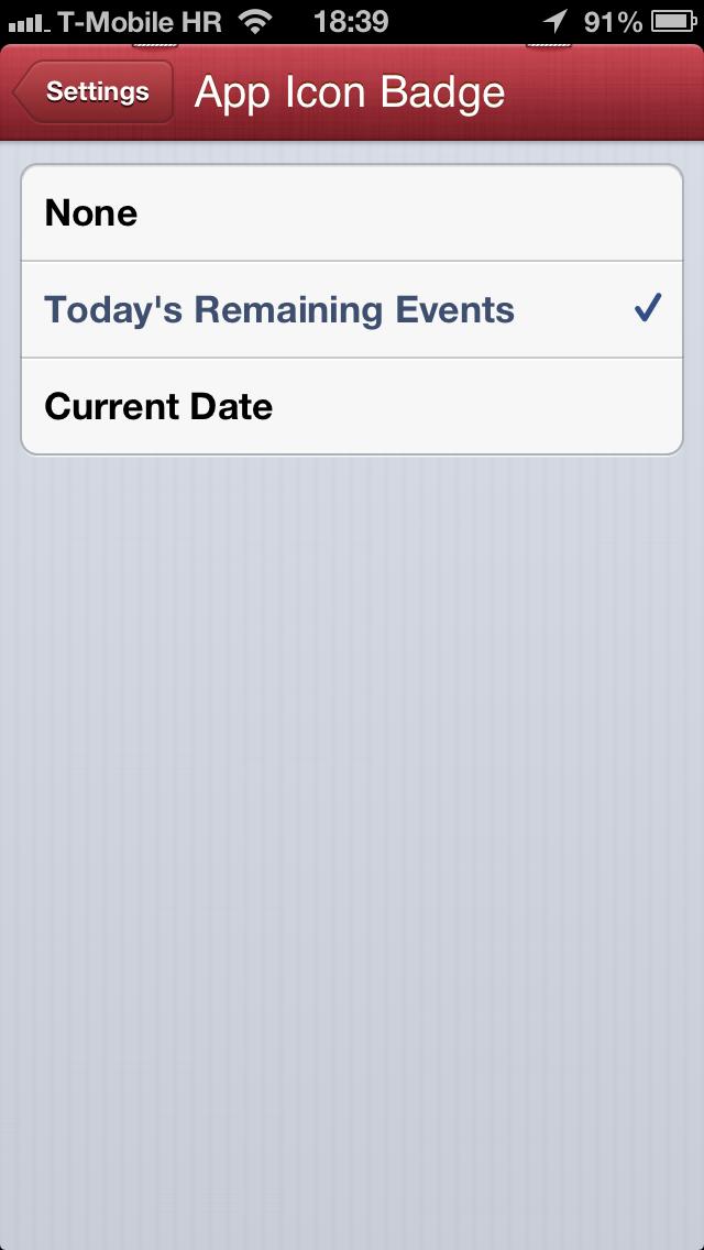 Fantastical 1.1 for iOS (iPhone screenshot, Settings, App Icon Badge