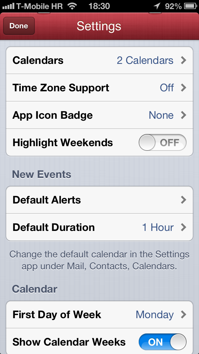 Fantastical 1.1 for iOS (iPhone screenshot, Settings)