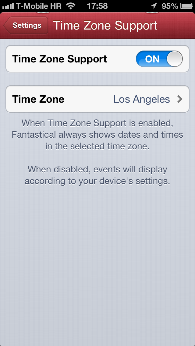 Fantastical 1.1 for iOS (iPhone screenshot, Time Zone Support)