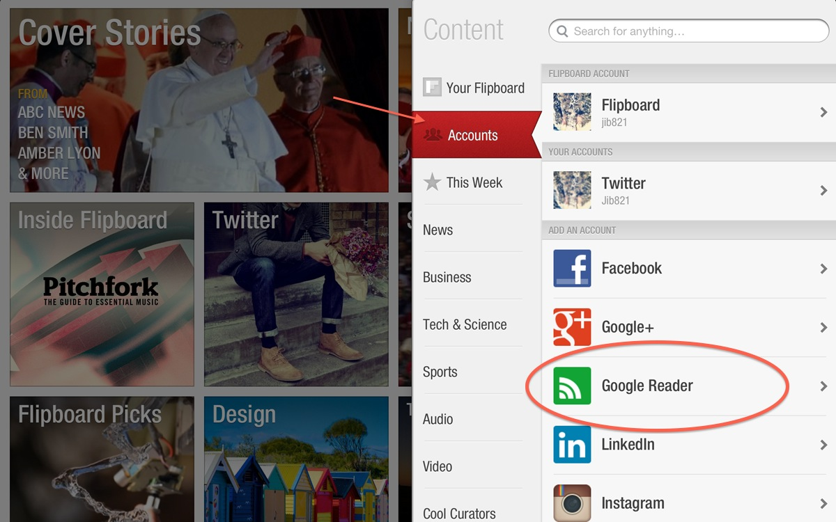 Flipboard (add Google Reader account)