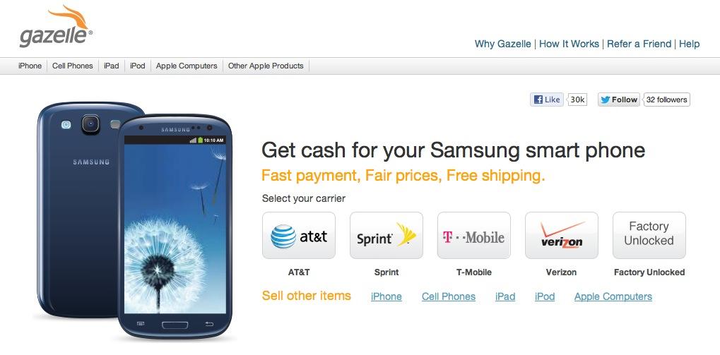Gazelle Samsung smartphone tradeins