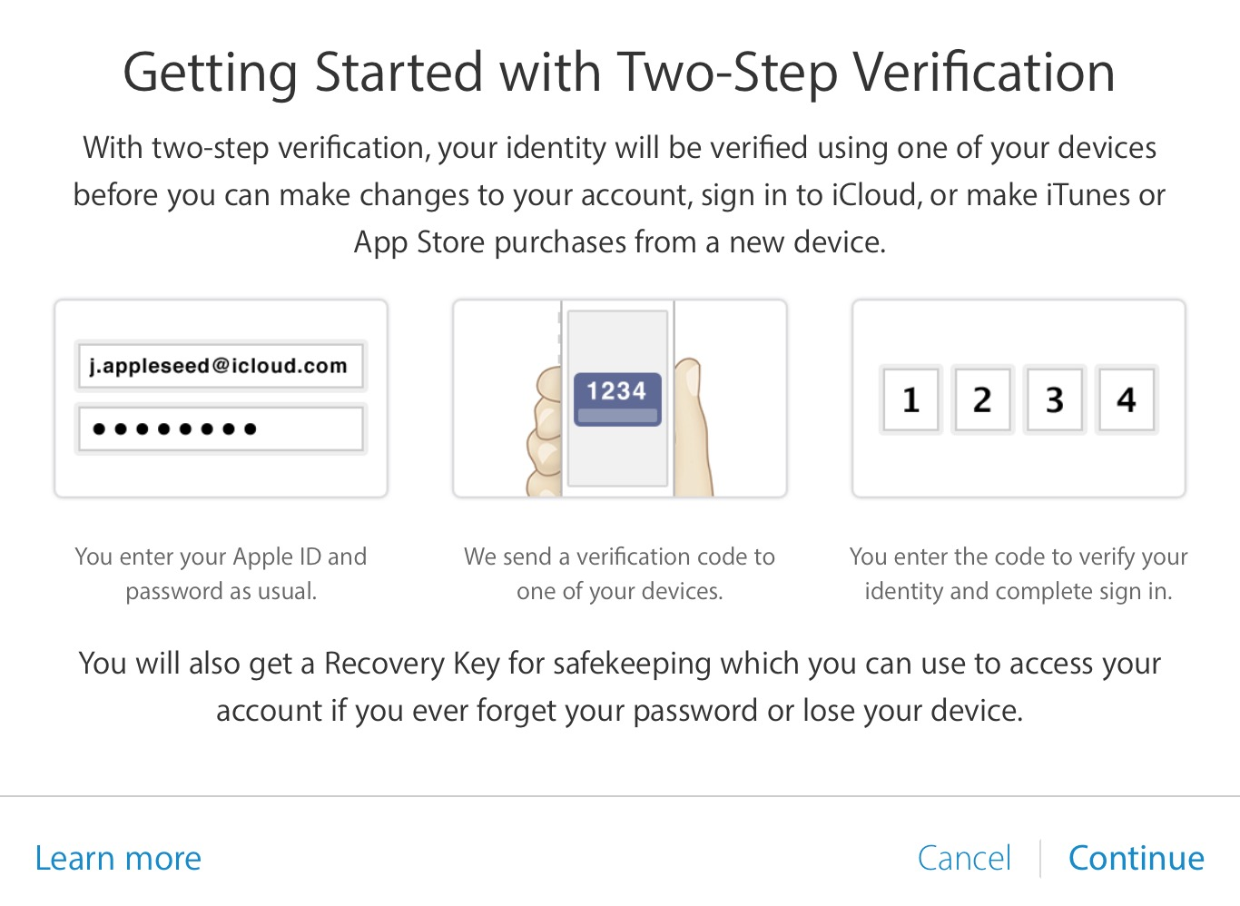 Get started two step verification