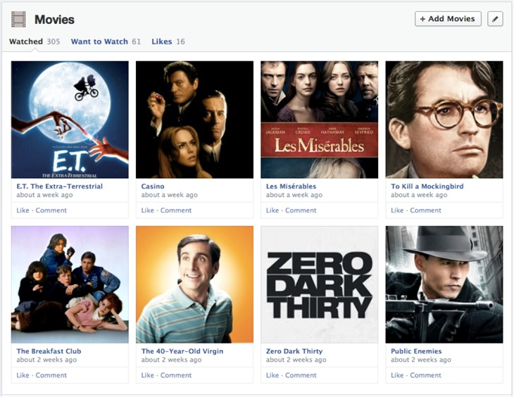 New Facebook Timeline (Movies)