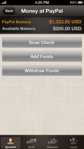 PayPal 4.5 for iOS (iPhone screenshot 002)