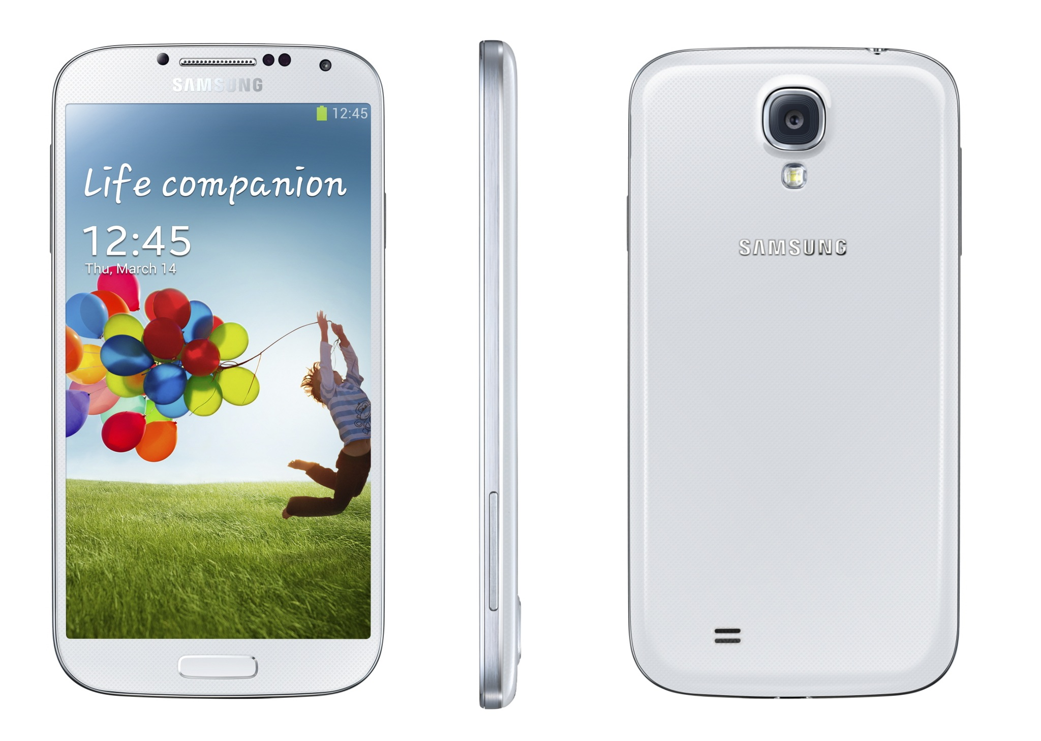 Samsung Galaxy S 4 (white, three up, front, profile, back)