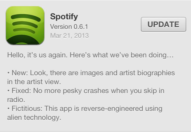 Spotify 0.6.1 Update