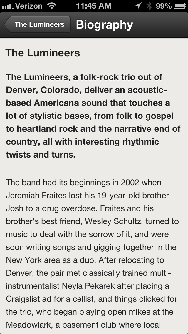 Spotify Lumineers Biography