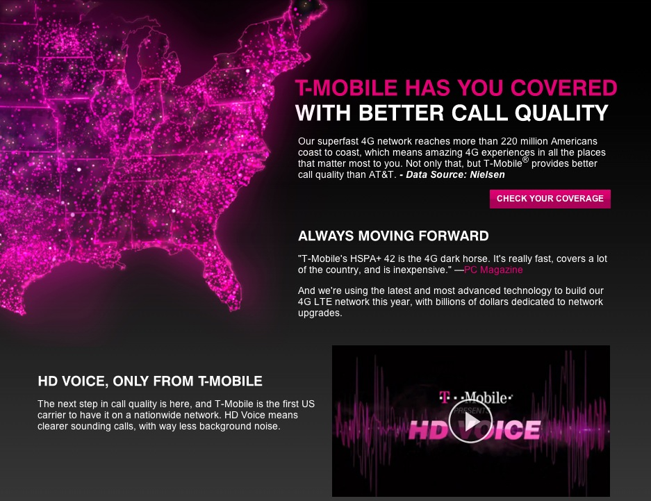 T-Mobile coverage web page