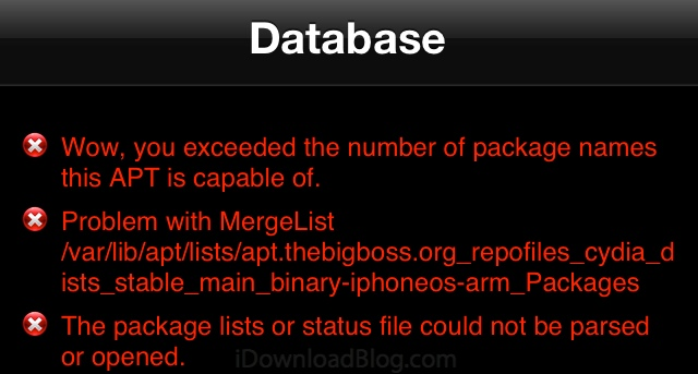 exceeded number of cydia package names