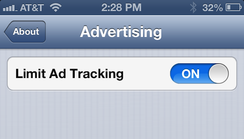 iOS 6 (Settings, Limit Ad Tracking)