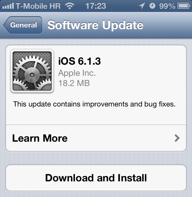 iOS 6.1.3 download prompt