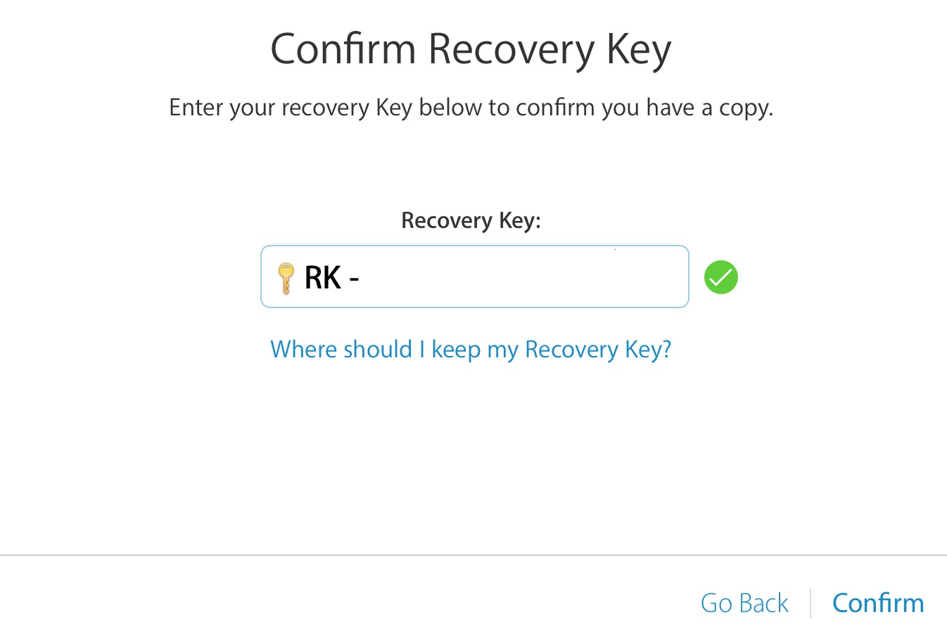 two step verification confirm recovery key