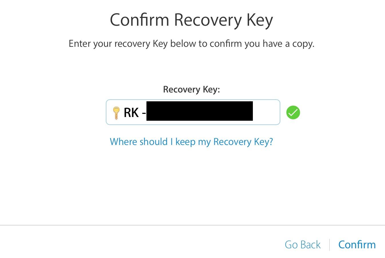 clave de recuperación de confirmación de verificación en dos pasos