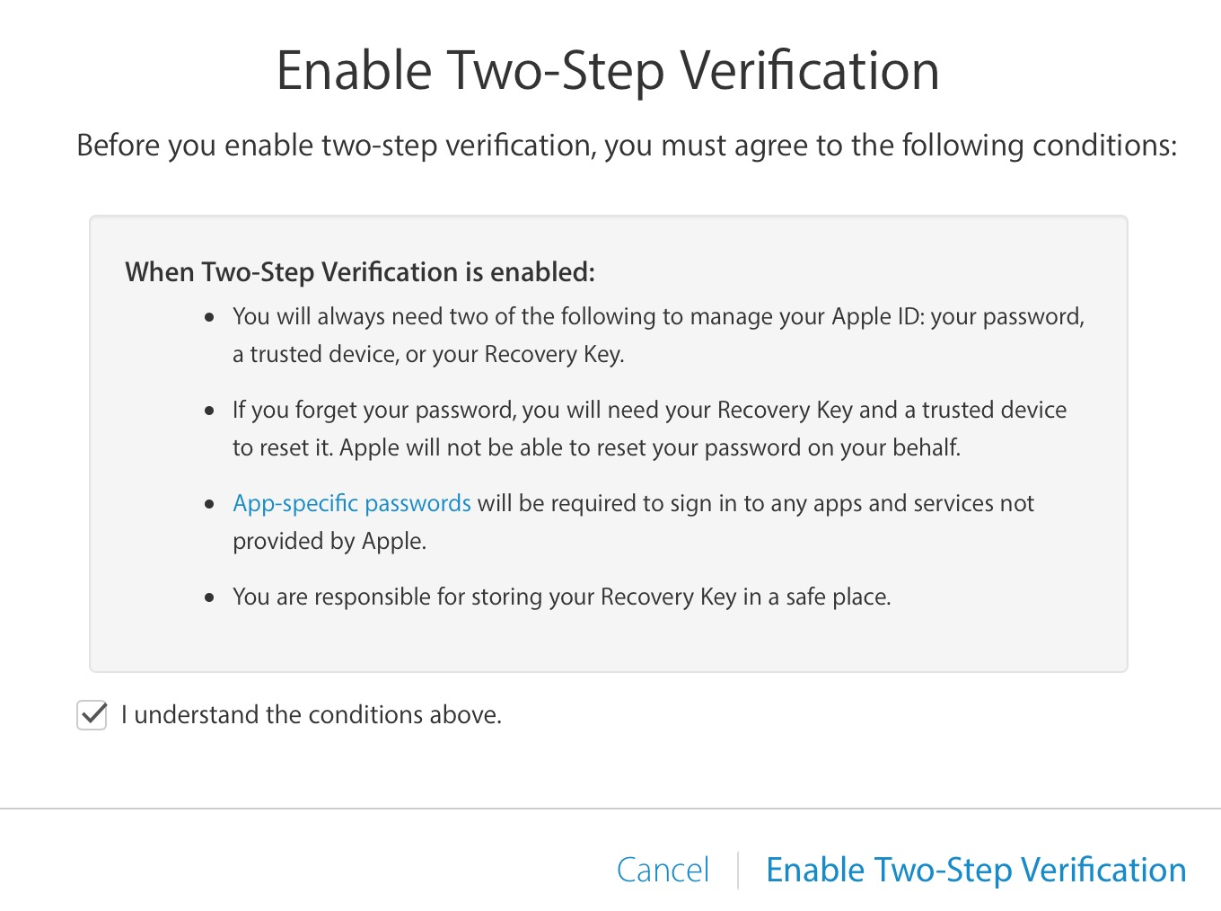 two step verification understand conditions