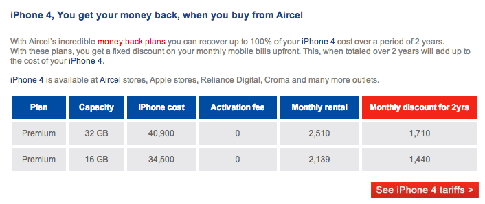 Aircell India iPhone 4