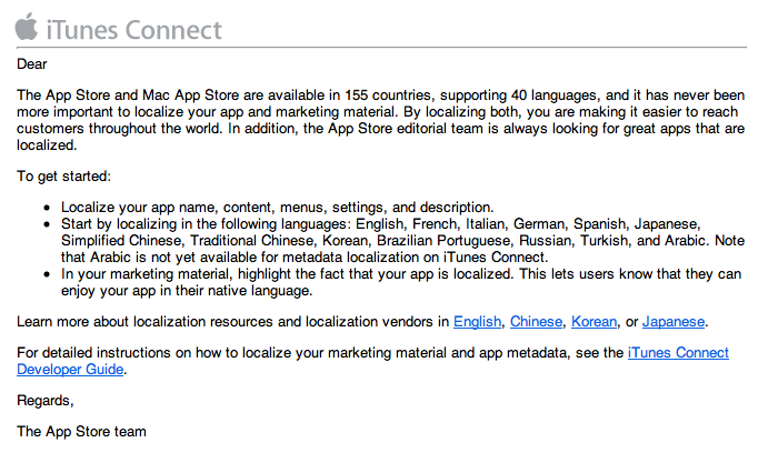 App Store localization email