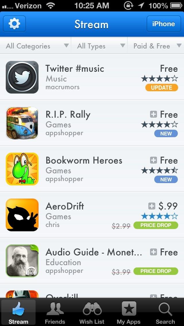 AppShopper Social (iPhone screenshot 002)
