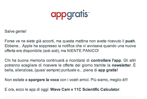 Apple kills AppGratis push notifications (email newsleter)