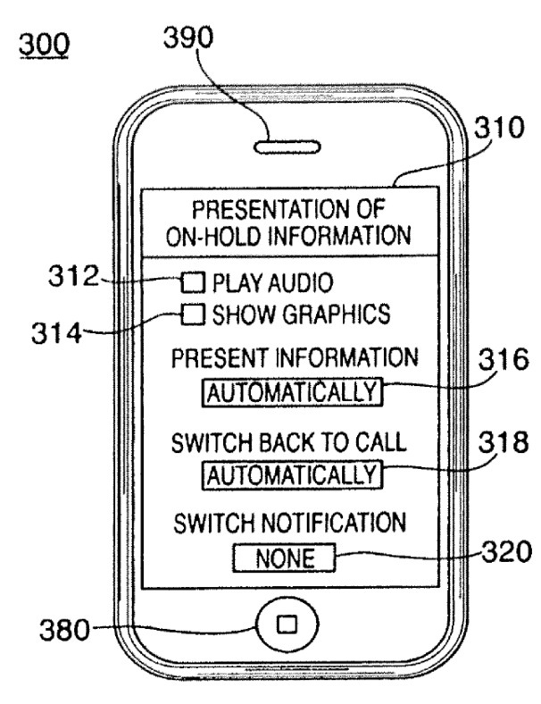 Apple patent (custom iPhone hold messages, drawing 001)
