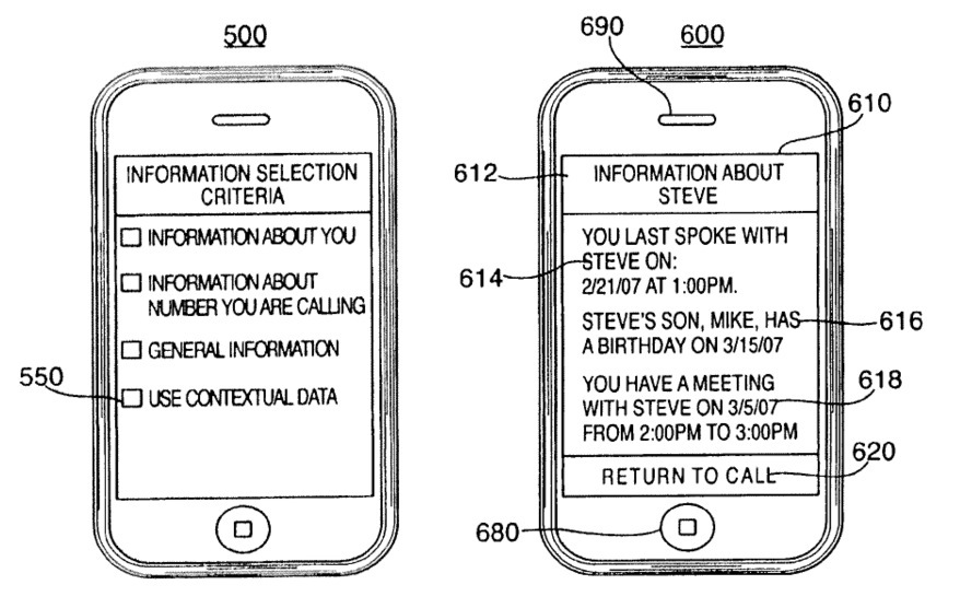 Apple patent (custom iPhone hold messages, drawing 002)