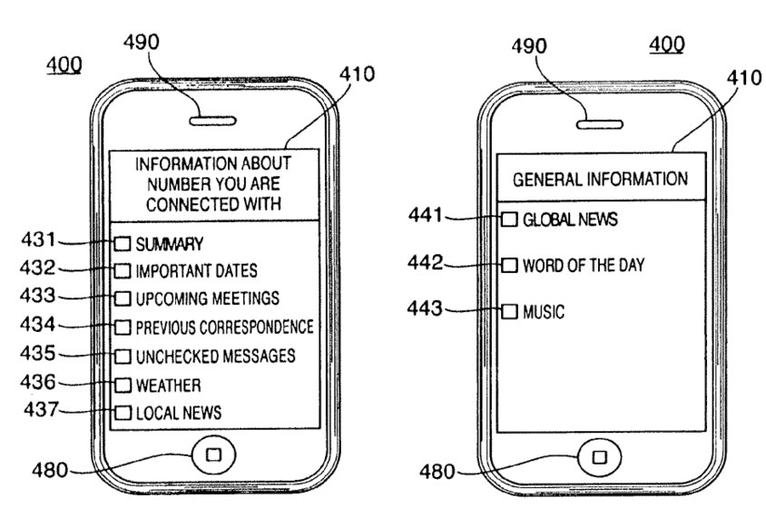 Apple patent (custom iPhone hold messages, drawing 003)