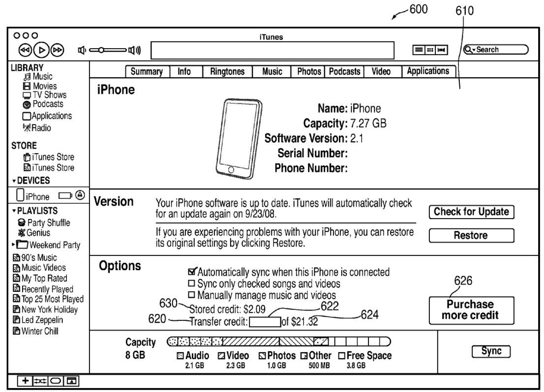 Apple patent (offline iTunes purchases 003)