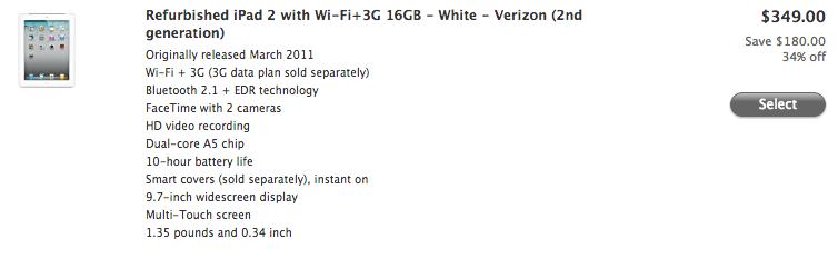 Apple refurbished (cellular iPad 2, 20130423)