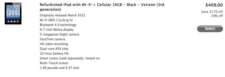 Apple refurbished (cellular iPad 3, 20130423)