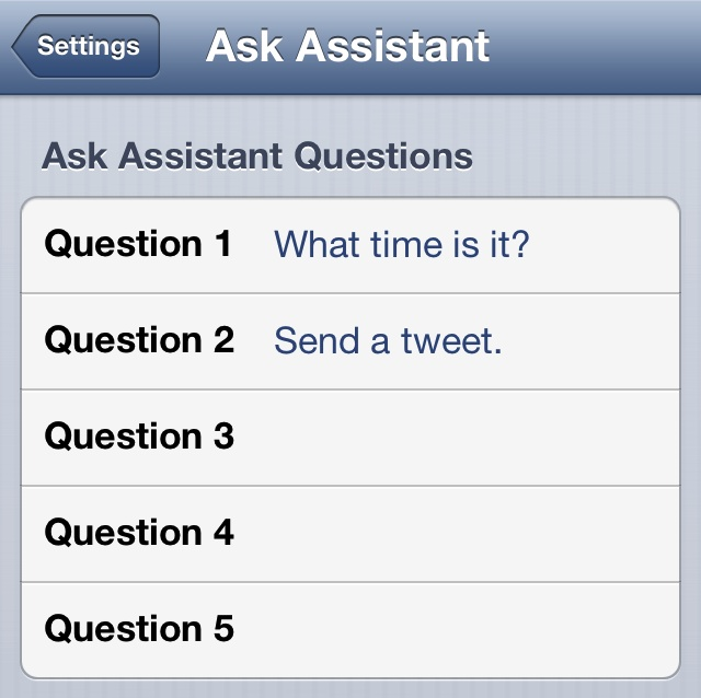 Ask Assistant Settings