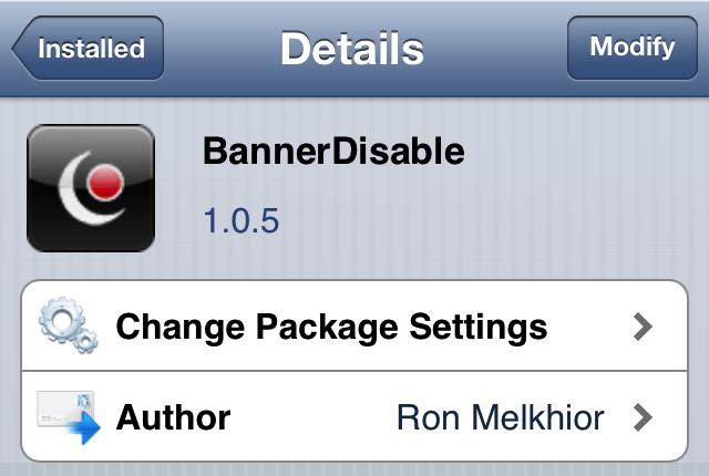 BannerDisable Cydia