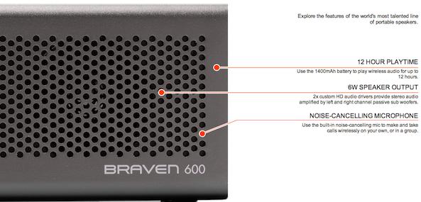 Braven 600 specs