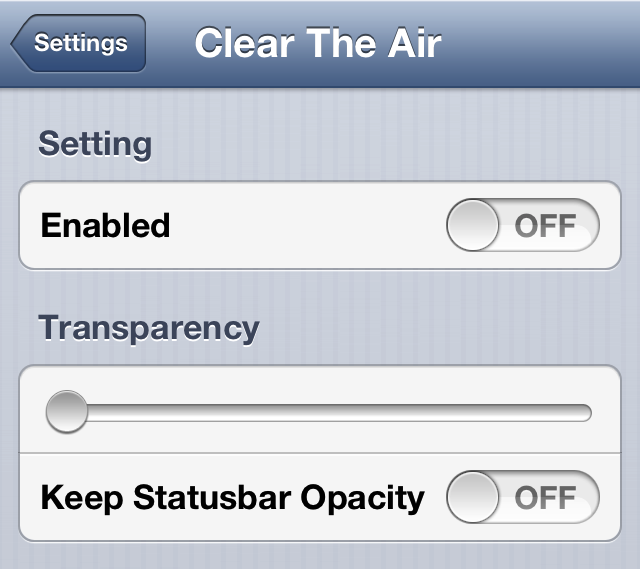 Clear The Air Settings