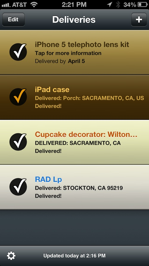 Delivery Status touch 2