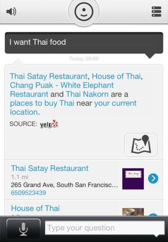 Evi for iOS (iPhone screenshot)