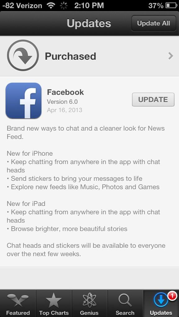 Facebook 6.0 (App Store release notes)