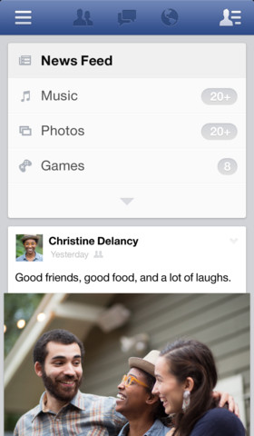 Facebook 6.0 for iOS (iPhone screenshot 003)