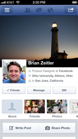 Facebook 6.0 for iOS (iPhone screenshot 004)