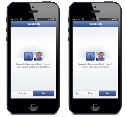 Facebook SDK 3.5 (data and publishing permission dialog)