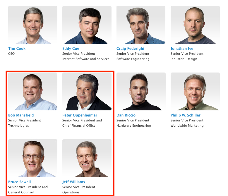 Four top paid Apple execs