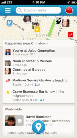 Foursquare 6.0 for iOS (iPhone screenshot 001)