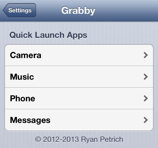 Grabby Settings