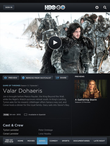 HBO Go 2.1 for iOS (iPad screenshot 003)