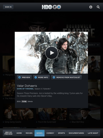 HBO Go 2.1 for iOS (iPad screenshot 004)