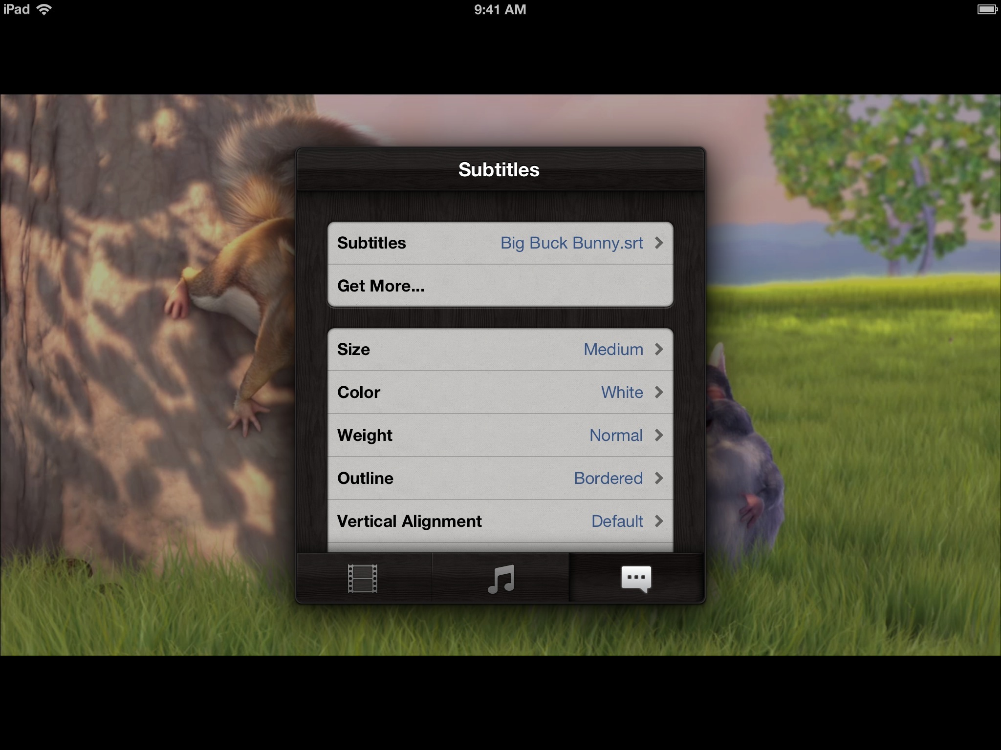 Infuse 1.0 for iOS (iPad screenshot, Subtitles)