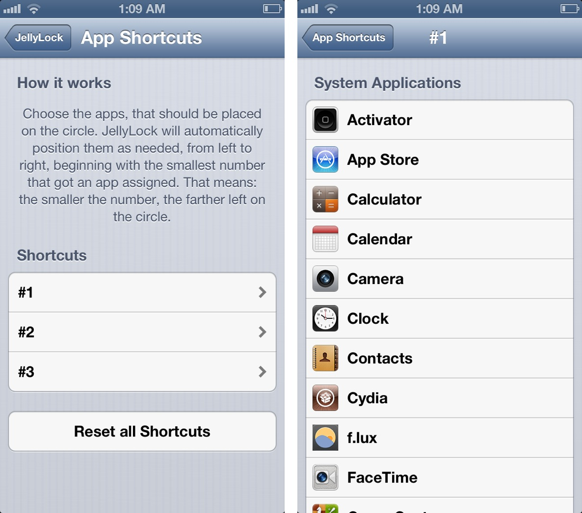 JellyLock App Shortcuts