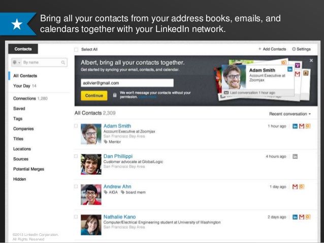 LinkedIn Contacts (web interface 001)